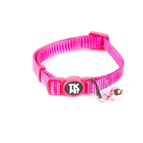 Coleira para gatos TK-Pet Classic Nylon cor de rosa com guizo