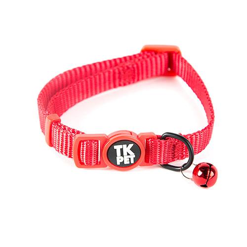 Coleira para gatos TK-Pet Classic Nylon vermelha com guizo