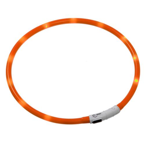 Coleira LED recarregável por USB Visio Light laranja