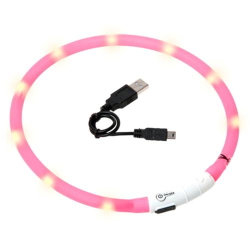 Coleira LED recarregável por USB Visio Light rosa