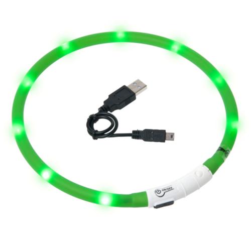 Coleira LED recarregável por USB Visio Light verde