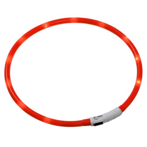 Coleira LED recarregável por USB Visio Light vermelha