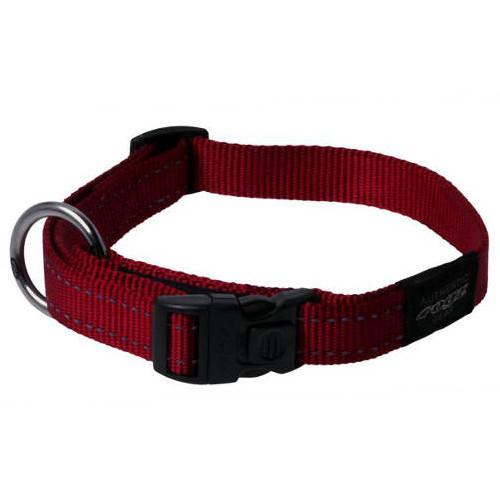 Coleira refletora para cães Rogz Utility vermelha com costura refletora
