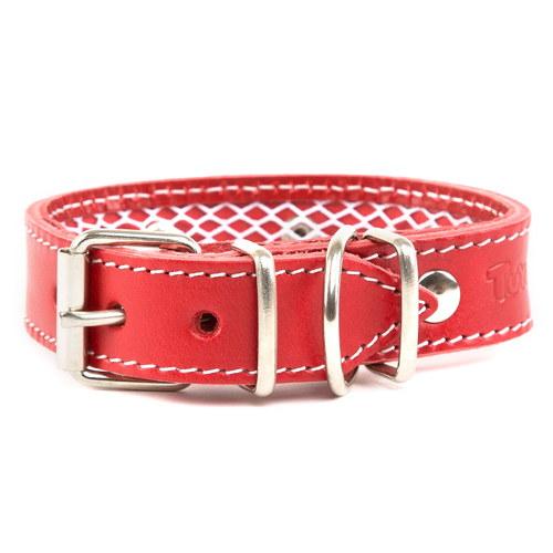Coleira de couro protector de coleira antiparasitário para cães Cor Vermelho