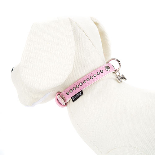 Coleira imitação pele rosa com strass brilhantes para cães