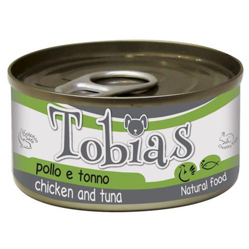 Comida húmida natural de frango e atum Tobias cão