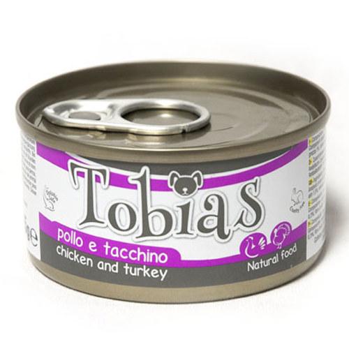 Comida húmida natural de frango e peru Tobias cão