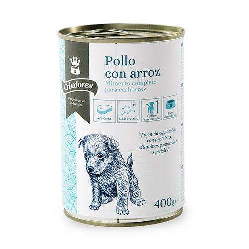 Comida húmida para cachorros Criadores de frango com arroz