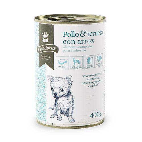 Comida húmida para cachorros Criadores de frango e vitela com arroz