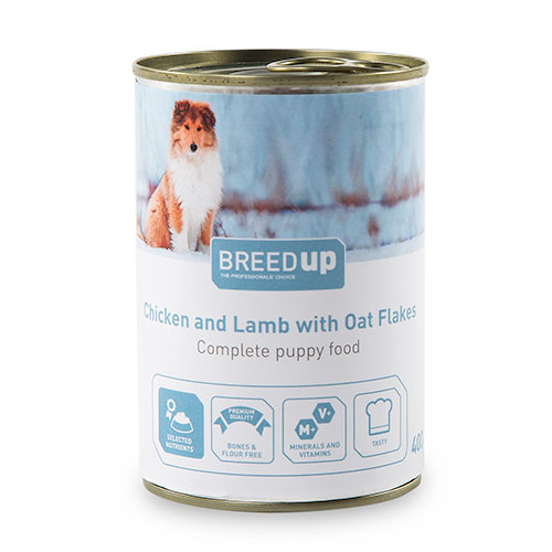 Comida húmida para cães Breed Up Puppy de frango e cordeiro com aveia