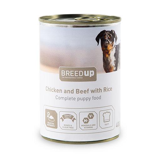 Comida húmida para cães Breed Up Puppy de frango e vitela com arroz