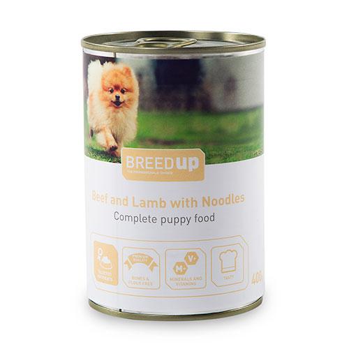 Comida húmida para cães Breed Up Puppy de vitela e cordeiro com massa