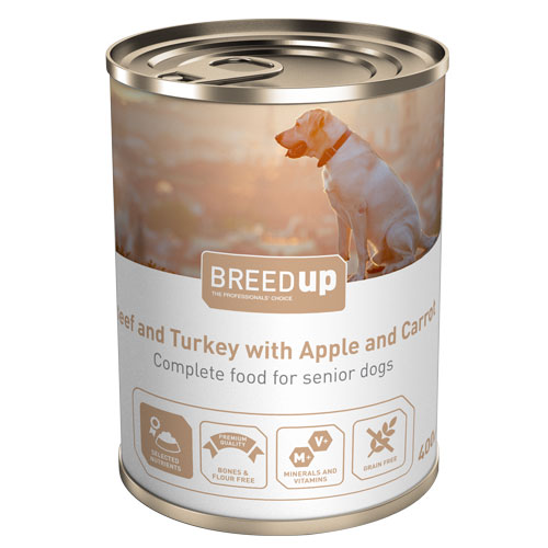 Comida húmida para cães Breed Up Senior de vitela e peru com maçã e cenoura