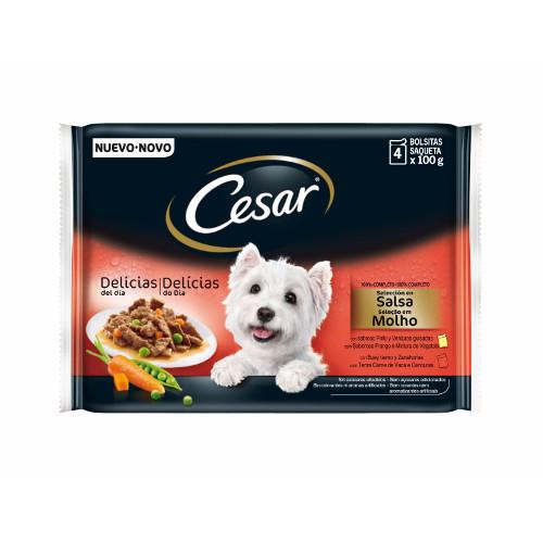 Comida húmida para cães Cesar Pouch Multipack em molho