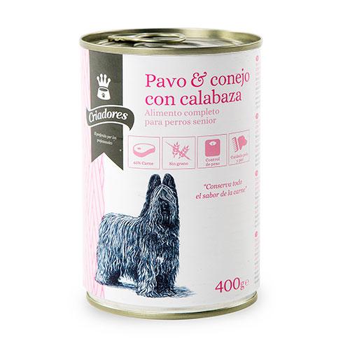 Comida húmida para cães idosos Criadores de peru e coelho como abóbora