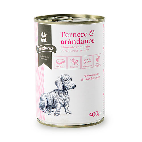 Comida húmida para cães idosos Criadores de vitela com mirtilo