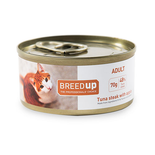 Comida húmida para gatos Breed Up Adult de atum com maçã
