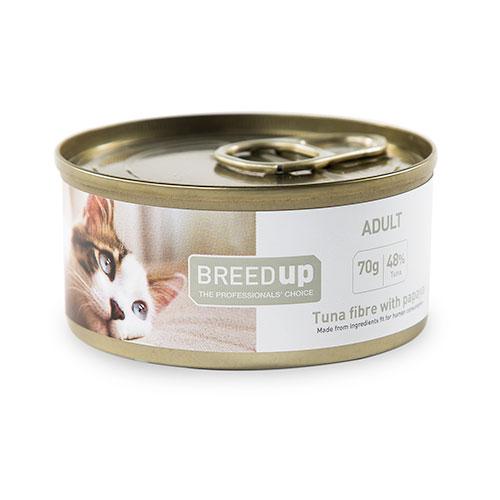 Comida húmida para gatos Breed Up Adult de atum com papaia