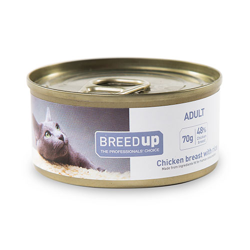 Comida húmida para gatos Breed Up Adult de frango e arroz