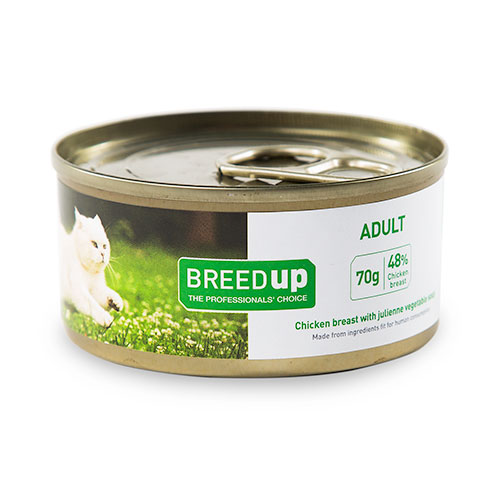 Comida húmida para gatos Breed Up Adult de frango com vegetais