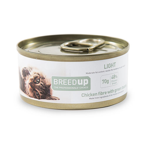 Comida húmida para gatos Breed Up Light de frango com feijão