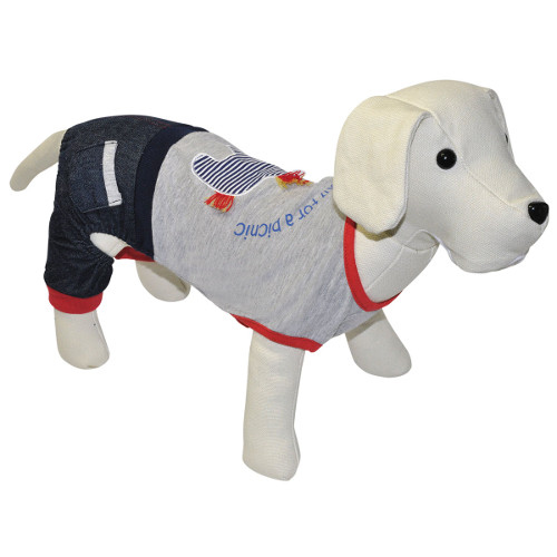 Conjunto de roupa para cães casual jeans