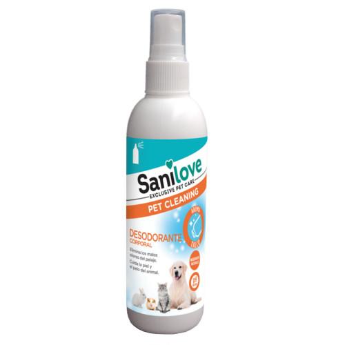 Desodorizante corporal Sanilove aroma pó talco para animais de estimação