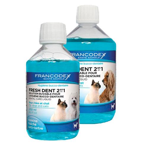 Elixir bucal para cães e gatos Fresh Dent 2 em 1 de Francodex