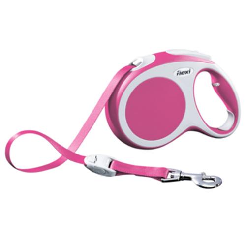 Flexi Vario Trela extensível de fita para cães cor rosa