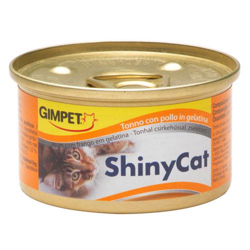GimPet Shiny Cat comida húmida para gatos com atum e frango