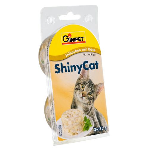 GimPet Shiny Cat comida húmida para gatos com frango, camarões e malta
