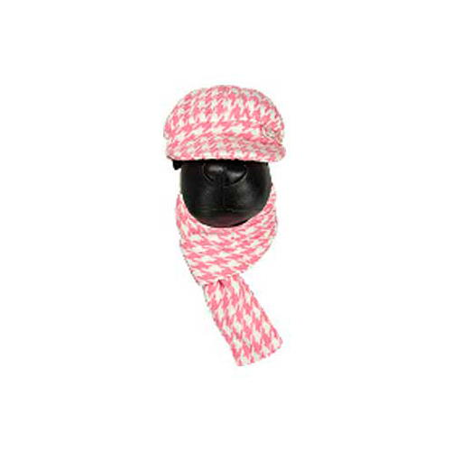 .Conjunto de chapéu e cachecol rosa para cães