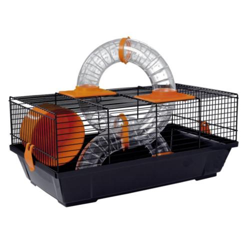 Jaula para hamster alargada negra com túnel