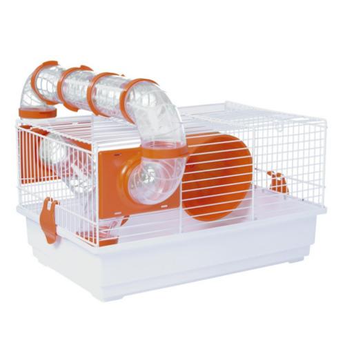 Jaula para hamster pequena rectangular com escadas com túnel
