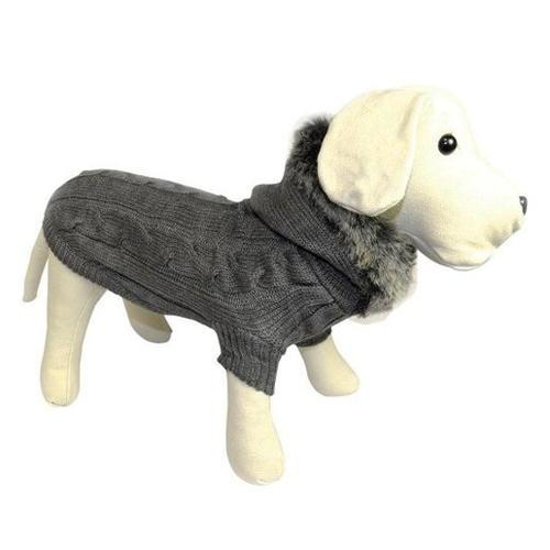 Camisola de malha cinzenta com capucha de pelo para cães
