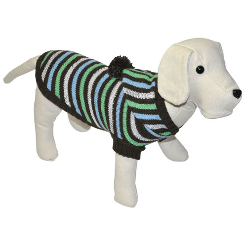 Camisola de malha às riscas castanha com capuz para cães