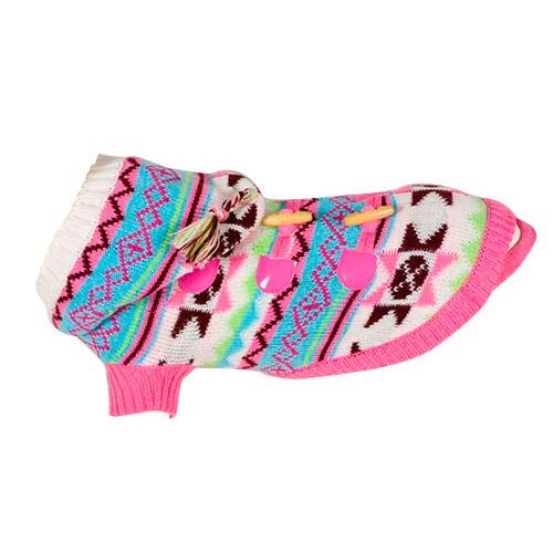Camisola de lã estampada étnica Rosa