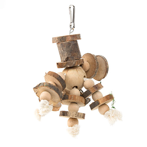 Brinquedo de madeira e corda com sino para papagaios