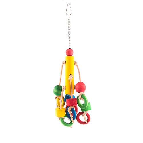 Brinquedo para pássaros Cube de madeira com anilhas