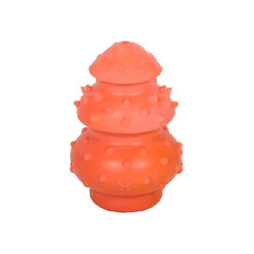 Brinquedo cão porta-guloseimas borracha natural vermelho