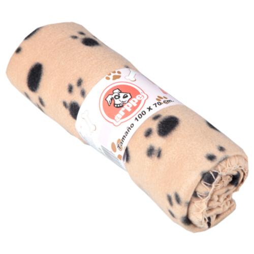Manta para cães e gatos Arppe bege com pegadas