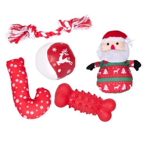 Meia de natal com cinco brinquedos