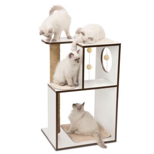 Móvel arranhador grande para gatos V-Box Vesper branco
