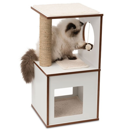 Móvel arranhador pequeno para gatos V-Box Vesper branco