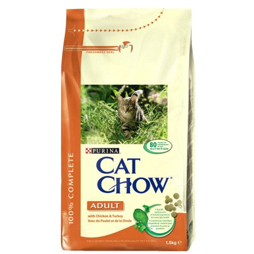 Ração para gatos Cat Chow com frango e peru