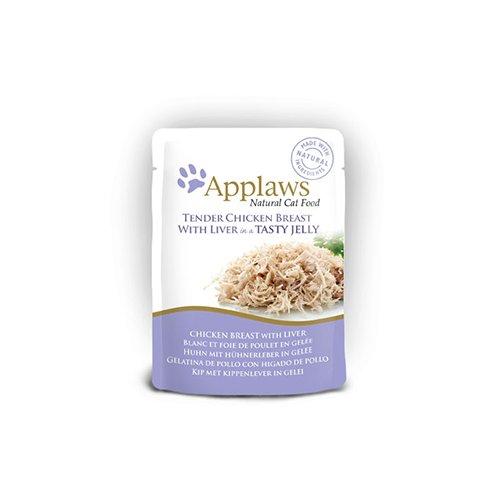 Comida húmida para gatos Applaws Jelly Pouch frango e fígado
