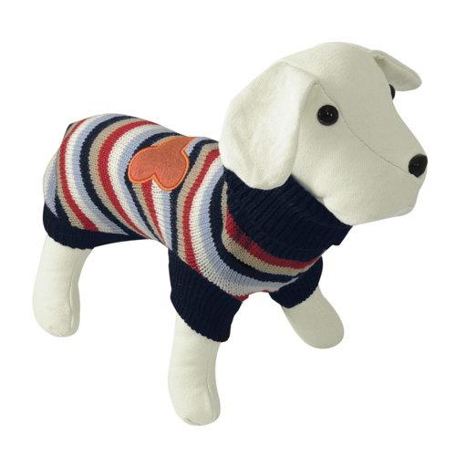 Suéter de tricô para cães com listas com osso