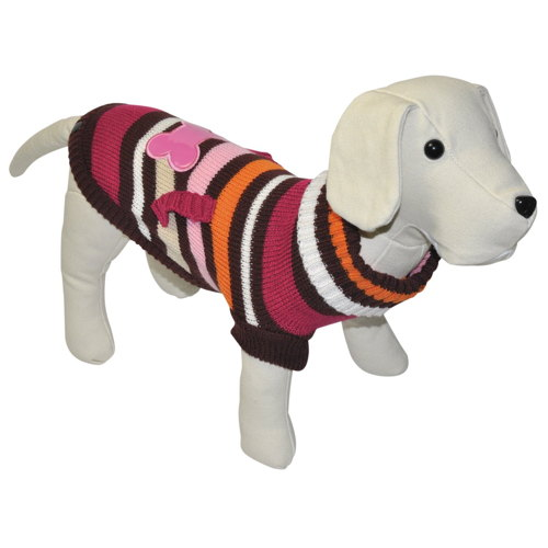 Suéter de tricô para cães com com osso cor-de-rosa com bolsos