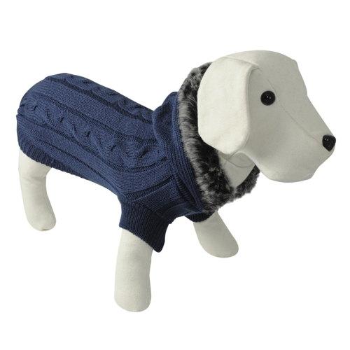 Suéter de tricô para cães azul com capuz