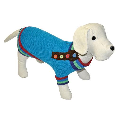 Suéter de tricô para cães com botões de cor azul